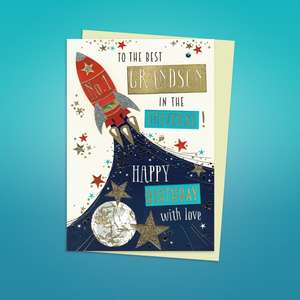 Grandson Rocket Themed Birthday Card Alongside Its Pearl Ivory Envelope