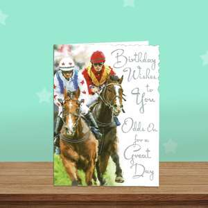 Horse Racing Themed Birthday Card Alongside Its White Envelope