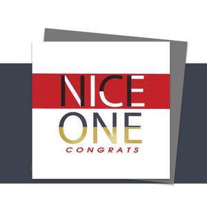 Nice One Congrats Greeting Card Alongside Its Silver Grey Envelope
