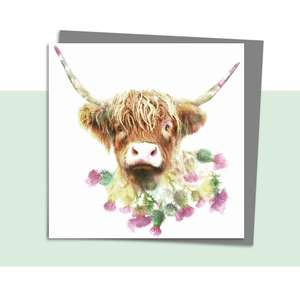 Highland Cow Blank Card Alongside Its Dark Grey Envelope