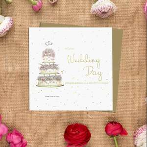 Wedding Day Greeting Card Alongside Its Kraft Envelope