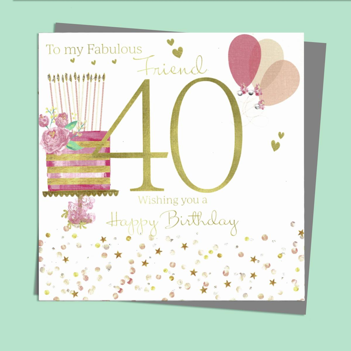 Friend 40 Birthday Card Alongside Its Silver Envelope