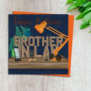 Brother In Law Birthday Card Design Complete With Neon Orange Envelope
