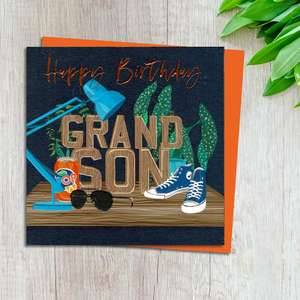 Grandson Birthday Card Complete With Neon Orange Envelope