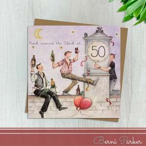 Showing Three Guys Partying On A Rooftop. The Clock Says 50. Caption: Rock Around The Clock At 50. Blank Inside For Your Own Message. Complete With Brown Kraft Envelope