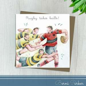 Four Men Playing Rugby. Caption: Rugby Takes Balls! Blank Inside For Own Message. Complete With Brown Kraft Envelope