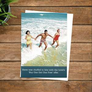 Buy One Get One Free Funny Greeting Card Alongside Its White Envelope