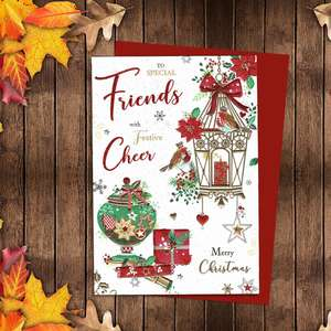 To Special friends With Festive Cheer Featuring A Beautiful Gilded Birdcage With Robins And Gifts. Finished With Red Glitter, Gold Foiling And A Red Envelope