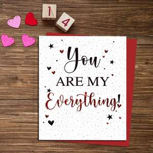 You Are My Everything Valentine's Day Card Alongside It's Red Envelope