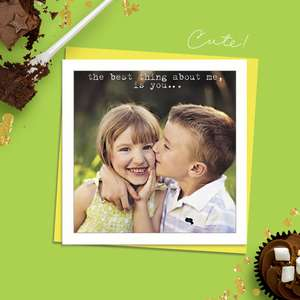 Beautiful Photographic Funny Card Showing A Young Boy Kissing The Cheek Of A Young Girl. Caption: The Best thing About Me, Is You..' Blank Inside For Own Message. Complete With Neon Yellow Envelope
