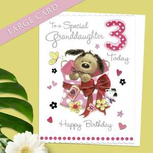 Large Granddaughter Age 3 Birthday Card Alongside Its White Envelope