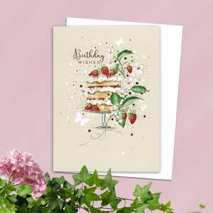 Floral Cake Themed Birthday Card Alongside Its White Envelope