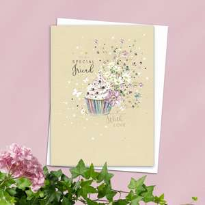 Special Friend Cupcake Birthday Card Alongside Its White Envelope