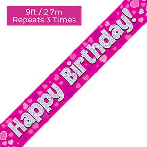 Happy Birthday Pink And Silver Banner Displayed