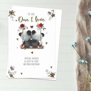 To The One I Love Birthday Card Featuring two Cute Pandas On A Swing. Beautiful Gold Foil Detail. Complete With White Envelope