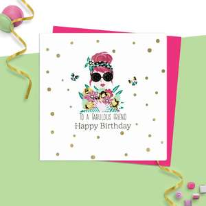 Fabulous Friend Card From Rush Design Featuring  A Trendy Lady Wearing Sunglasses And Holding Flowers. Surrounded By Gold Foil Polka Dots And With Neon Pink Envelope. Blank inside For Own Message
