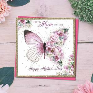 ' For You Mum With Love Happy Mother's Day' Card Featuring A Beautiful Pink Butterfly-One Half Floral. With Gold Sparkle Border And Bright Pink Envelope