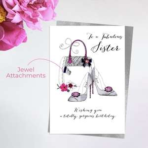Sister Handbag And Shoes Birthday Card Alongside Its Silver Envelope