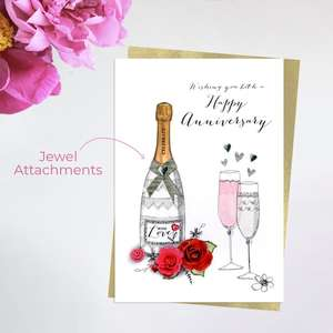 Happy Anniversary Greeting Card Alongside Its Ivory Envelope