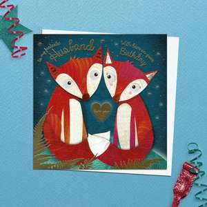 A Vibrant Card Featuring Two Foxes For Husband Birthday. With Added Gold Foil Detail And White Envelope