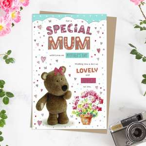 ' For A Special Mum With Love On Mother's Day' Card Featuring Barley Bear With A Colourful Pot Plant! With Added Gold Foiling Detail And Brown Envelope