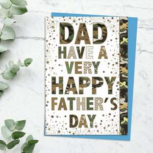 'Dad Have A Very Happy Father's Day' Card In Camouflage Text With Stunning Gold Foiled Detail. Complete With Blue Envelope