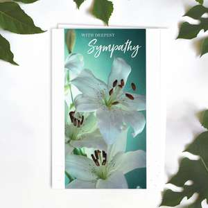 With Deepest Sympathy White Lilies Card Front Image