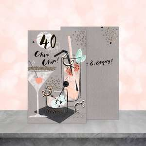 Image Showing A 40th Birthday Card Sitting On The Shelf