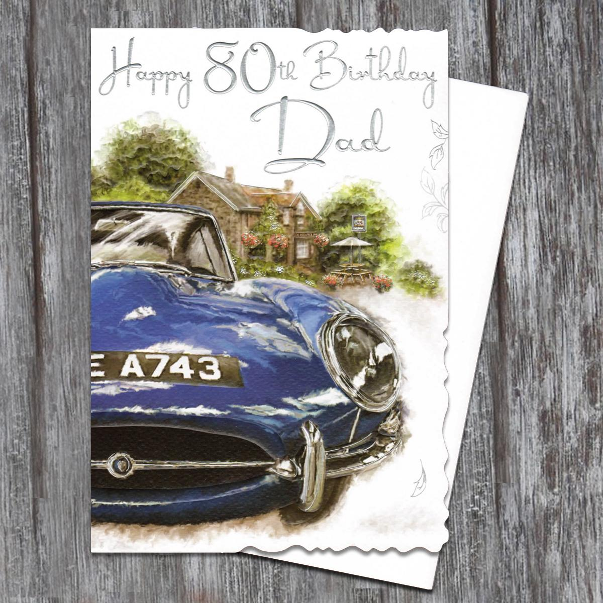 Dad Age 80 Birthday Card Alongside Its White Envelope