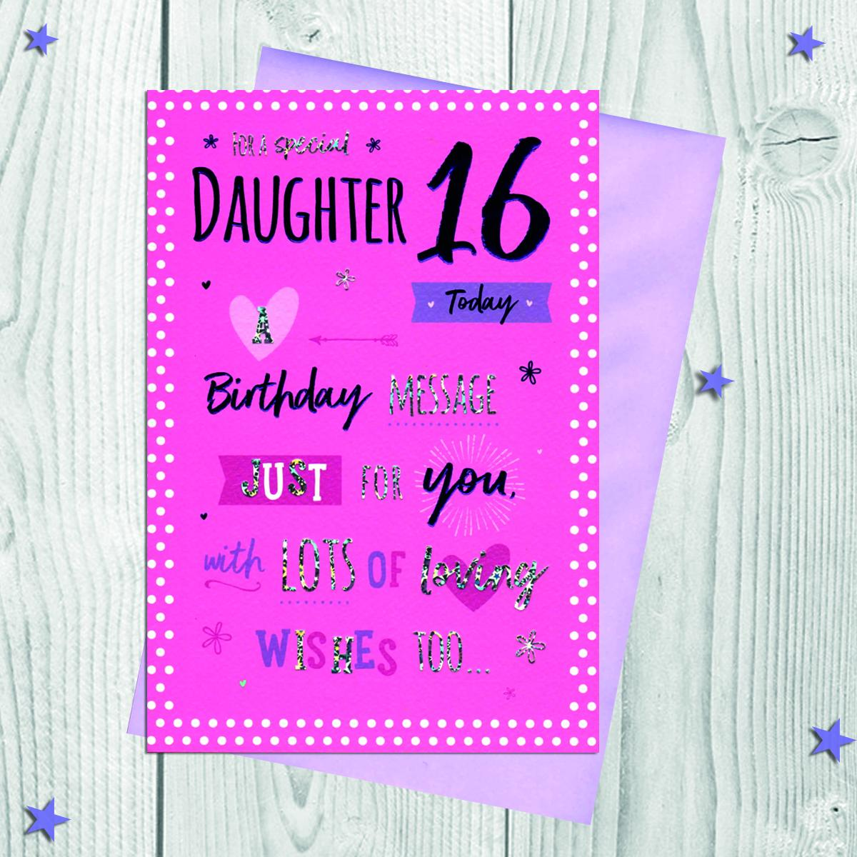 Daughter Age 16 Birthday Card Alongside Its Envelope