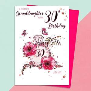 Granddaughter Age 30 Birthday Card Alongside Its Magenta Envelope