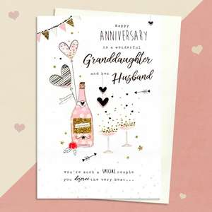 Granddaughter And Husband Anniversary Card Alongside Its Envelope