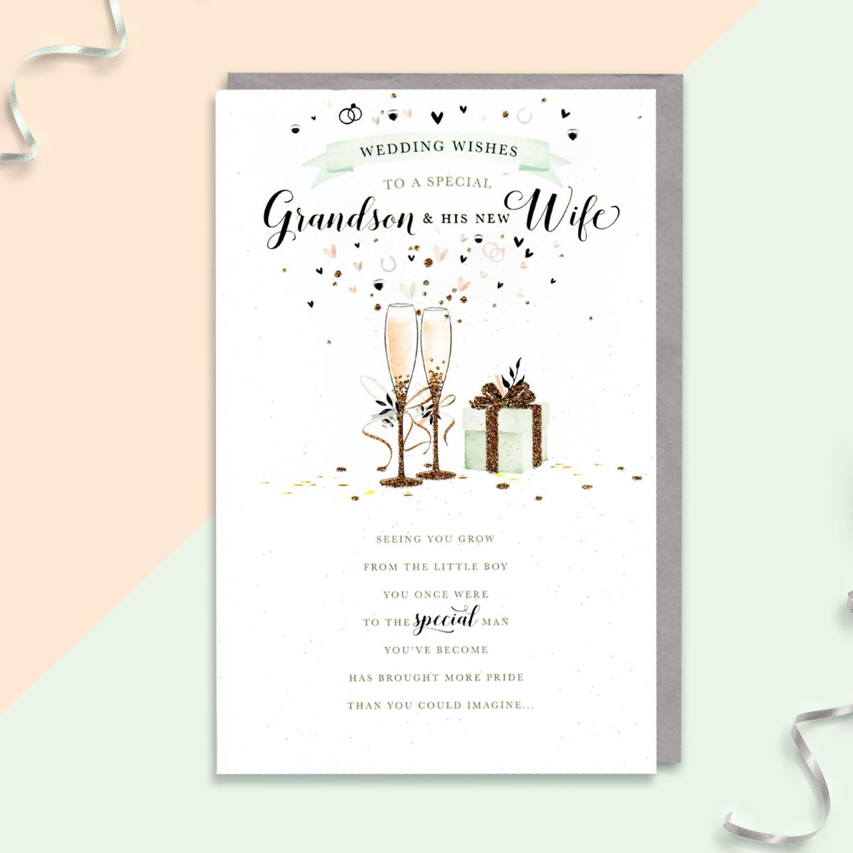 Grandson And Wife Wedding Card Sat On A Display Shelf
