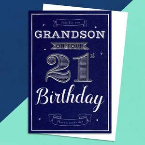 Grandson Age 21 Birthday Card Sitting On A Display Shelf