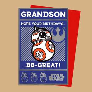 Star Wars Grandson Birthday Card Featuring The Character BB8.