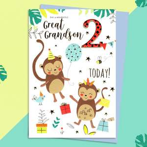 Great Grandson Age 2 Birthday Card Sitting On A Display Shelf