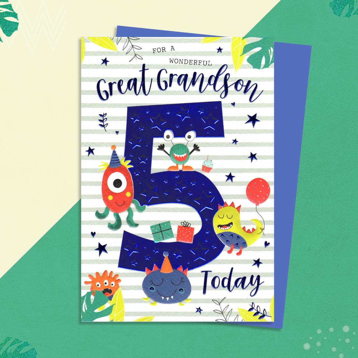 Age 5 Monsters Great Grandson Age 5 Birthday Card Sitting On A Wooden Shelf