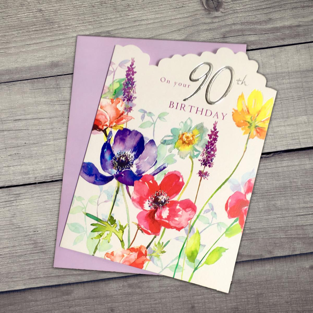 Age 90 Floral Birthday Card Alongside Its Lilac Envelope