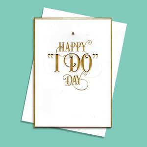 Happy I Do Day Wedding Card Alongside Its White Envelope