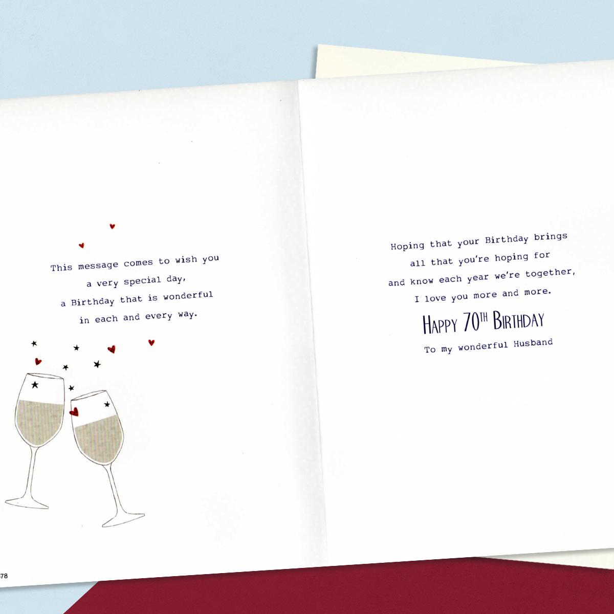 Age 70 Husband Birthday Card Inside Image Showing Layout And Printed Text