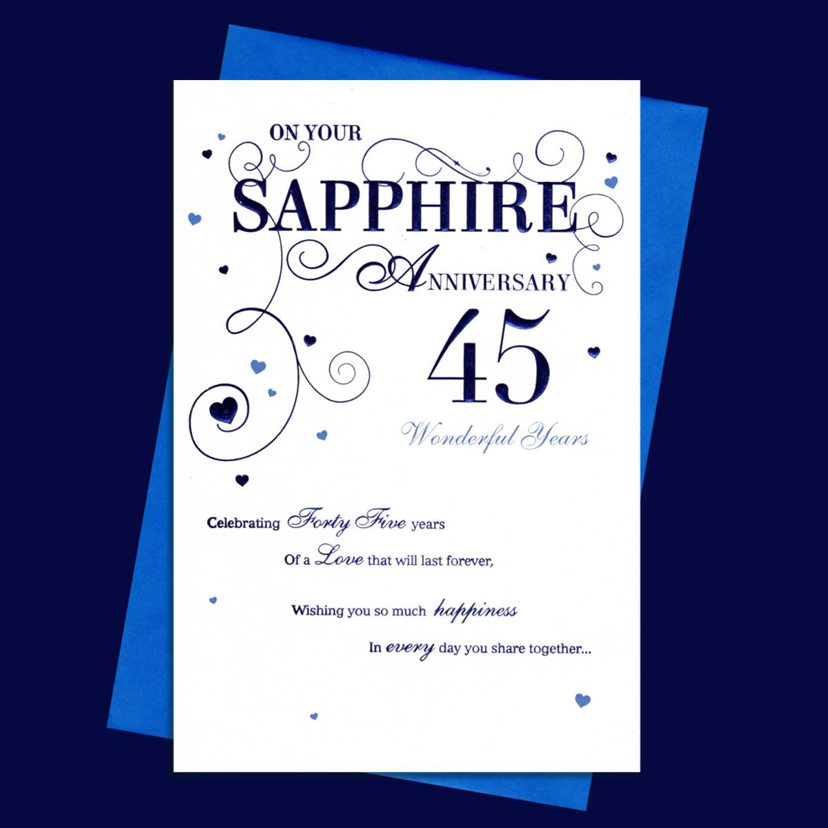 On Your Sapphire Anniversary Card Alongside Its Envelope