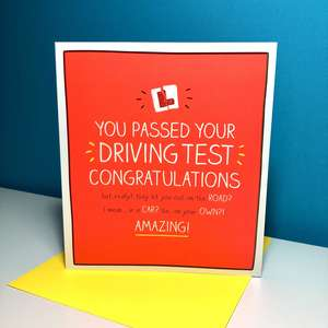 Happy Jackson Passed Your Driving Test Congrats Card Sat On A Display Shelf
