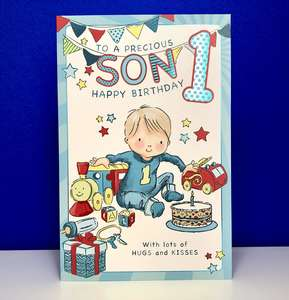Son Age 1 Birthday Card Displayed On A Wooden Shelf