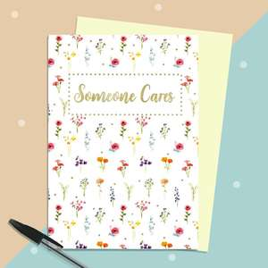Someone Cares Greeting Card Sat Alongside Its Envelope