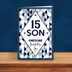 Son Age 15 Birthday Card Sat On A Wooden Display Shelf