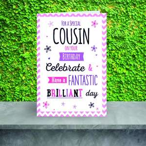 Special Cousin Birthday Card Displayed On A Silver Shelf