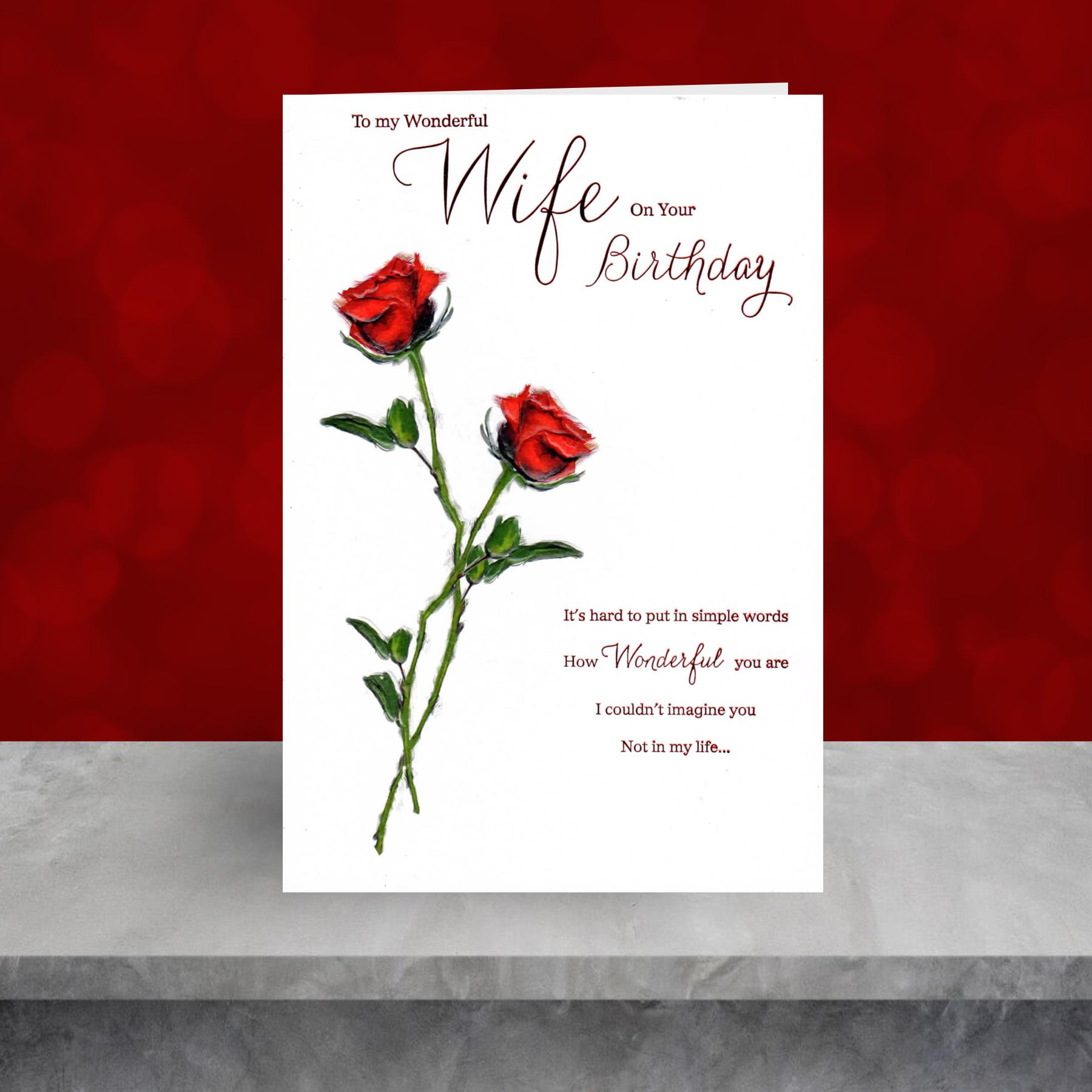 Wife Red Roses Birthday Card Sitting On A Display Shelf