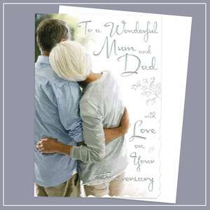 Mum And Dad Anniversary Card Alongside Its White Envelope