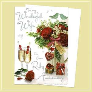 Wife Ruby Anniversary Card Alongside Its White Envelope
