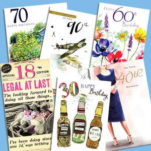 A Selection Of Cards To Show The Depth Of Range In Our Age 18-100 Birthday Cards Section